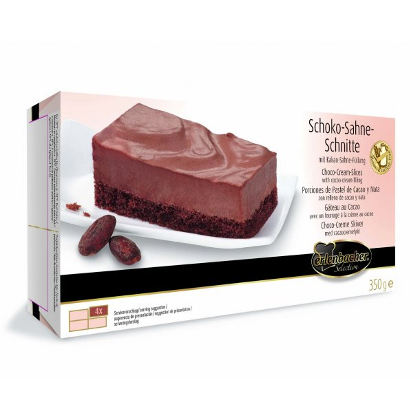 Choko-fløde snitte glutenfri/lakt 4 stk (9 x 4 stk (425 gr)) OBS: SENDES IKKE MED FRAGTMAND