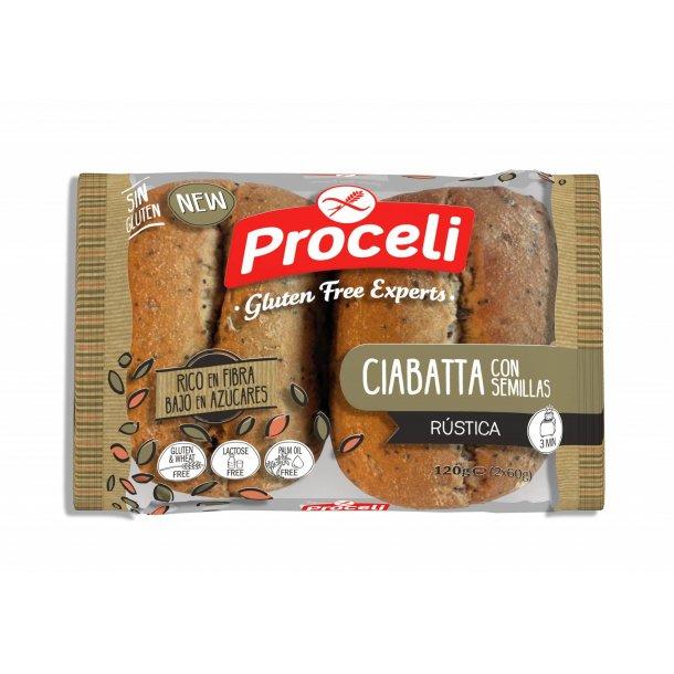 Ciabatta med frø glutenfri - 120 gr (2 x 60 gr)