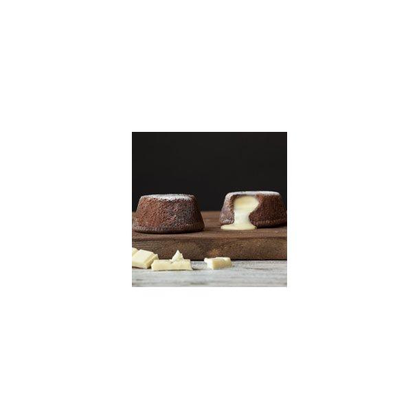 Italiensk chokoladesoufflé med hvid chokoladecreme