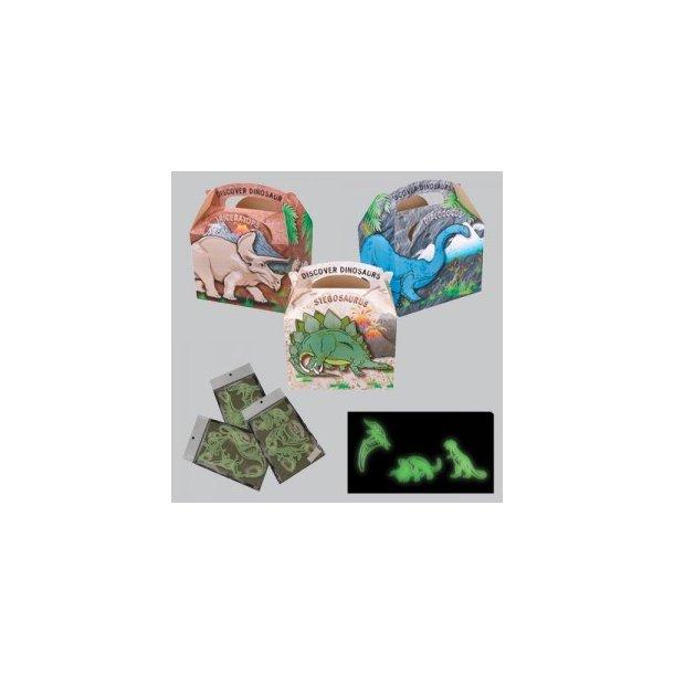 Dinosaurus Box med selvlysende dinoer 100 stk./krt.